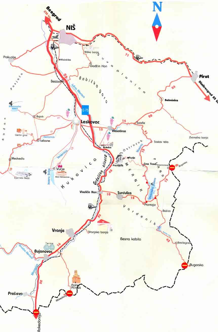 vlasotince mapa Vlasinsko jezero :: geografski polozaj vlasotince mapa